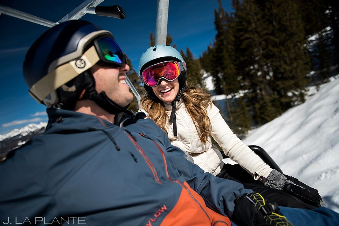 Vail Ski Engagement   Couple riding chairlift   Vail wedding photographer   J. La Plante Photo
