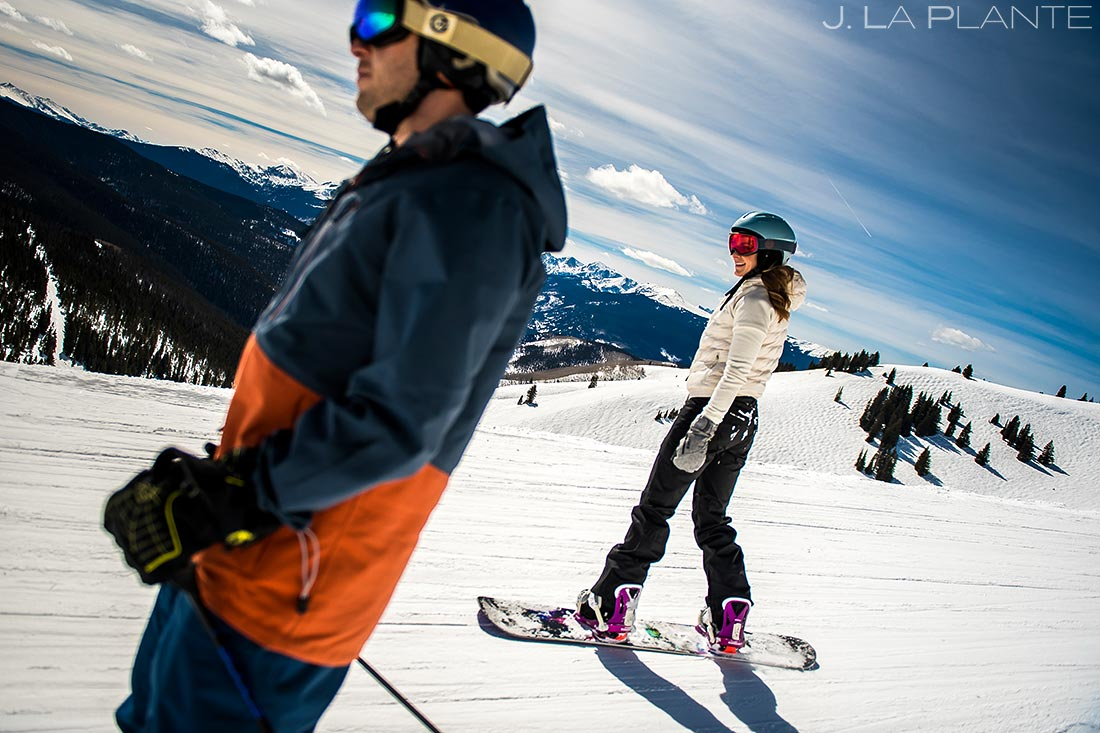 Vail Ski Engagement | Bride and groom skiing | Vail wedding photographer | J. La Plante Photo