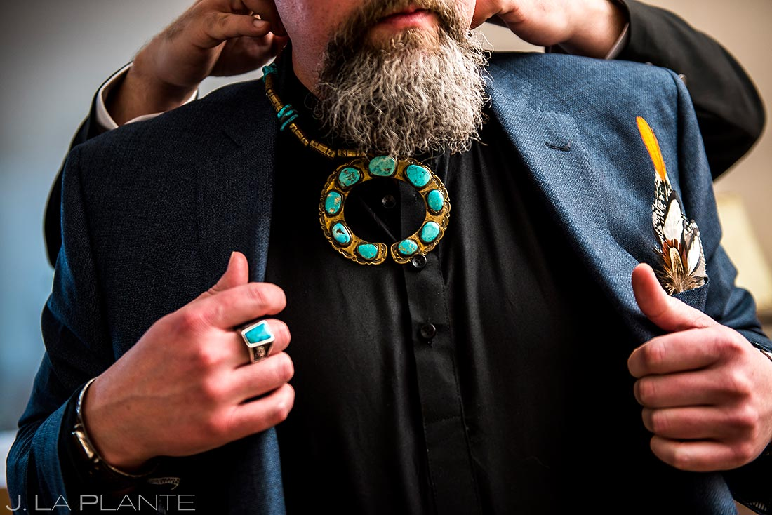 Groom's native american attire | Evergreen Lake House Wedding | Evergreen Wedding Photographer | J. La Plante Photo