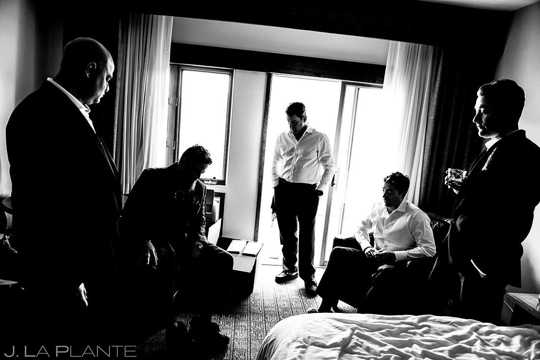 Groomsmen hanging out   Evergreen Lake House Wedding   Evergreen Wedding Photographer   J. La Plante Photo