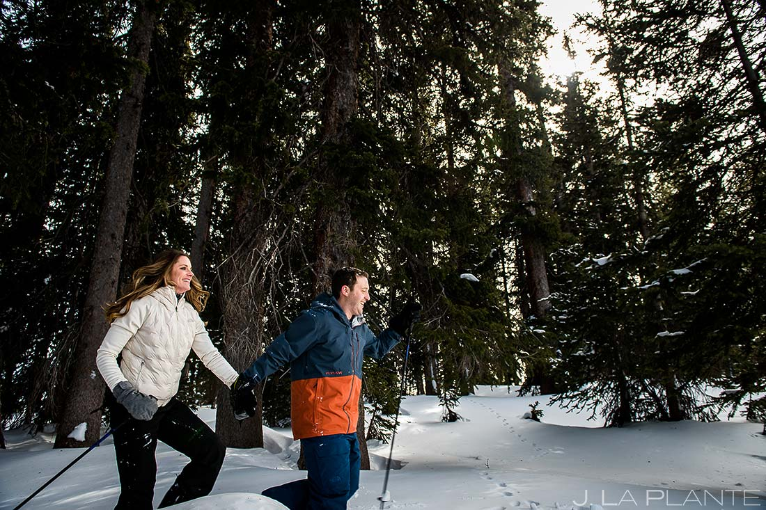 Vail Ski Engagement | Bride and groom playing in snow | Vail wedding photographer | J. La Plante Photo