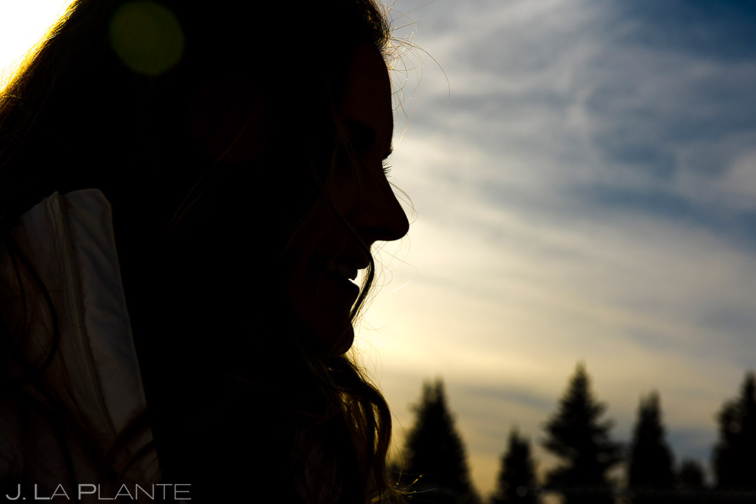 Vail Ski Engagement | Bride silhouette | Vail wedding photographer | J. La Plante Photo