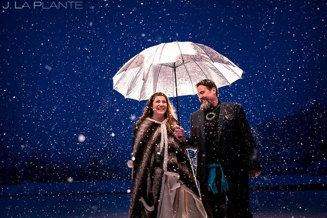 Bride and groom in snow   Evergreen Lake House Wedding   Evergreen Wedding Photographer   J. La Plante Photo