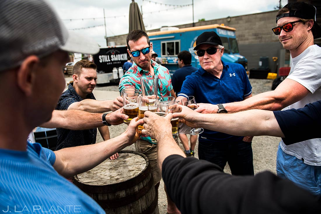 Groomsmen Drinking at Rayback Collective | Wedgewood Boulder Creek Wedding | Boulder Wedding Photographer | J. La Plante Photo