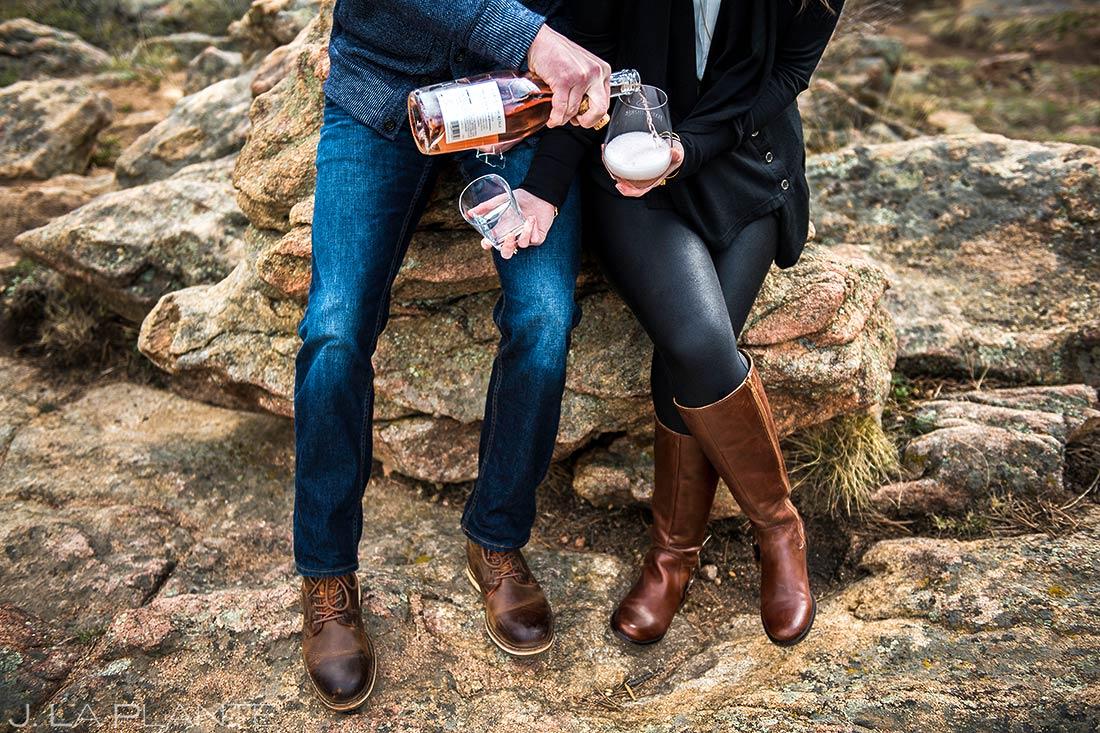 Bride and Groom Drinking Whiskey | Rocky Mountain National Park Engagement | Estes Park Wedding Photographer | J. La Plante Photo