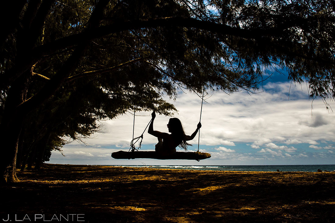 swinging on the beaches of hawaii