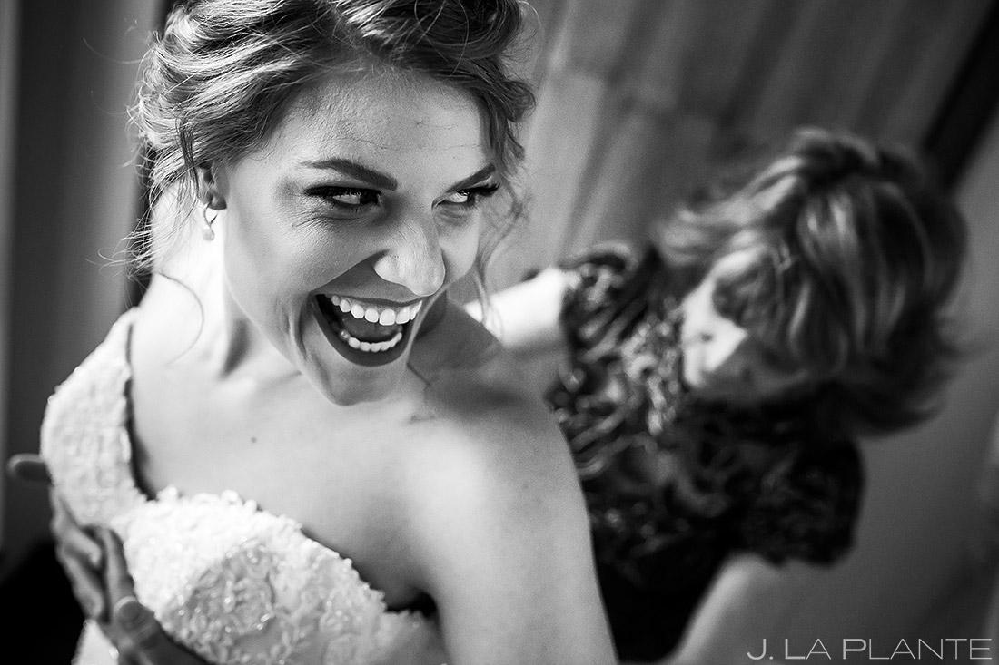 Bride Getting Into Dress | Wedgewood Boulder Creek Wedding | Boulder Wedding Photographer | J. La Plante Photo