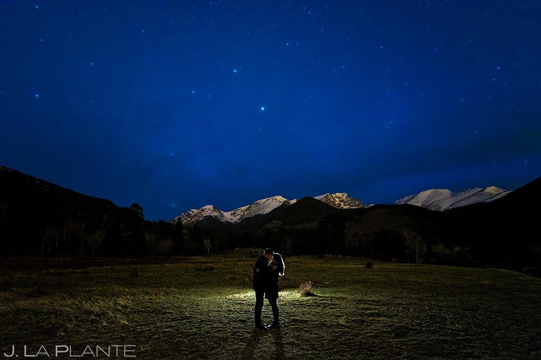 Bride and Groom Under the Stars | Rocky Mountain National Park Engagement | Estes Park Wedding Photographer | J. La Plante Photo