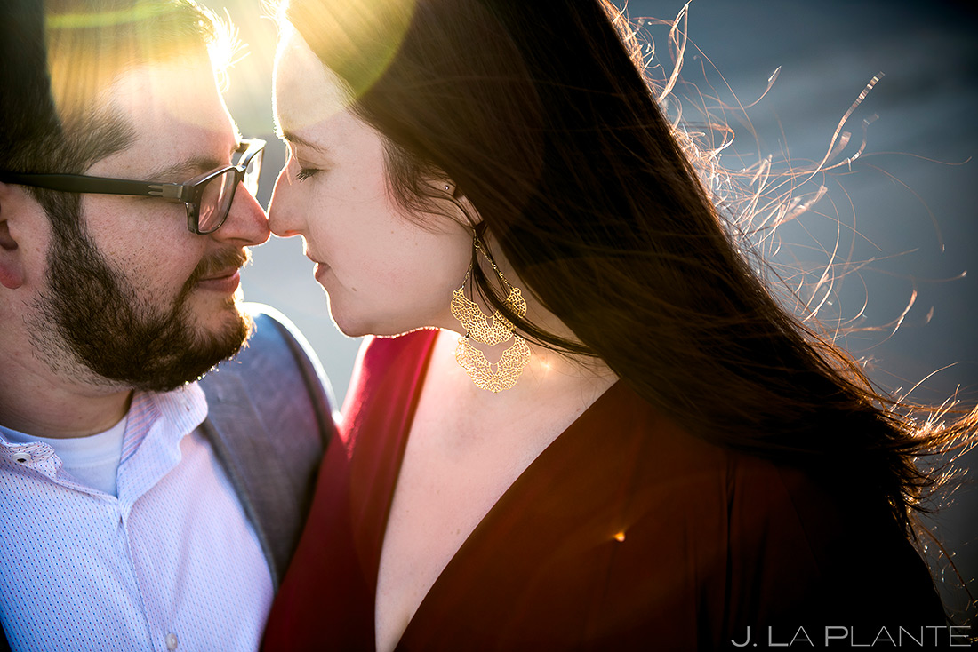 bride and groom to be portrait at sunset
