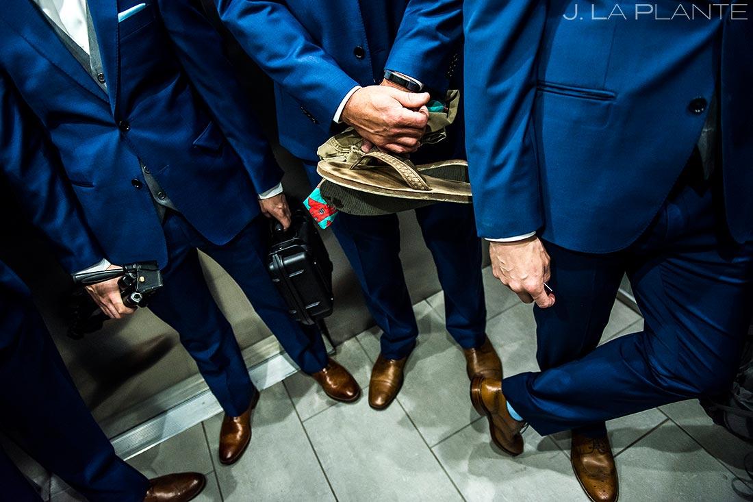 Groomsmen Riding Elevator | Wedgewood Boulder Creek Wedding | Boulder Wedding Photographer | J. La Plante Photo