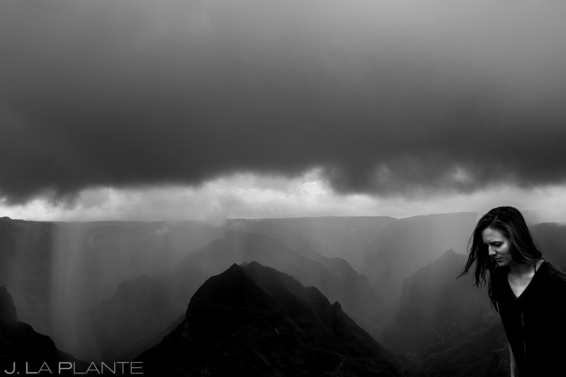 black and white photo of waimea canyon