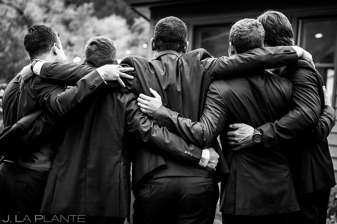 Groomsmen Hugging Each Other | Wedgewood Boulder Creek Wedding | Boulder Wedding Photographer | J. La Plante Photo
