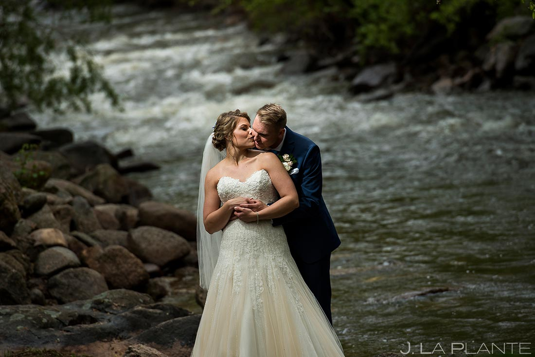 Bride and Groom by the River | Wedgewood Boulder Creek Wedding | Boulder Wedding Photographer | J. La Plante Photo