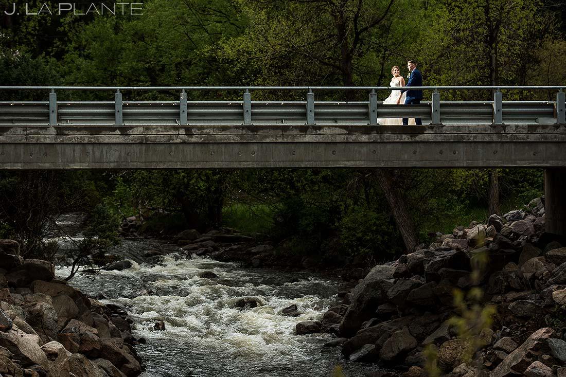Bride and Groom on a Bridge | Wedgewood Boulder Creek Wedding | Boulder Wedding Photographer | J. La Plante Photo