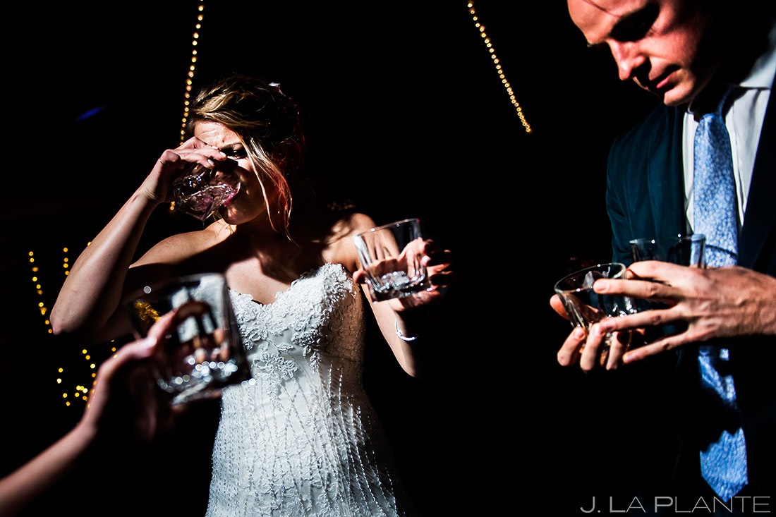 Bride Doing Tequila Shots | Wedgewood Boulder Creek Wedding | Boulder Wedding Photographer | J. La Plante Photo