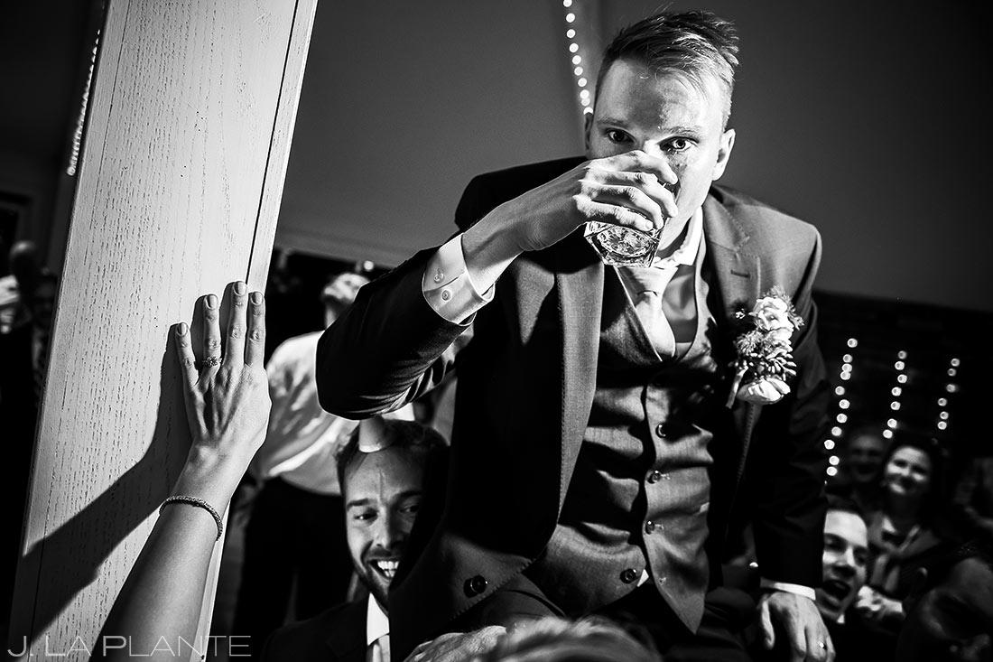 Groom Doing Tequila Shots | Wedgewood Boulder Creek Wedding | Boulder Wedding Photographer | J. La Plante Photo