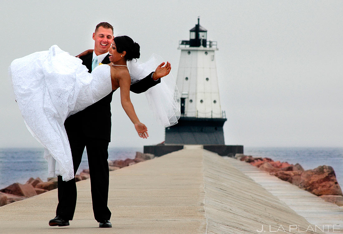 Bride and Groom at Lighthouse | Lake Michigan Destination Wedding | Destination Wedding Photographer | J. La Plante Photo