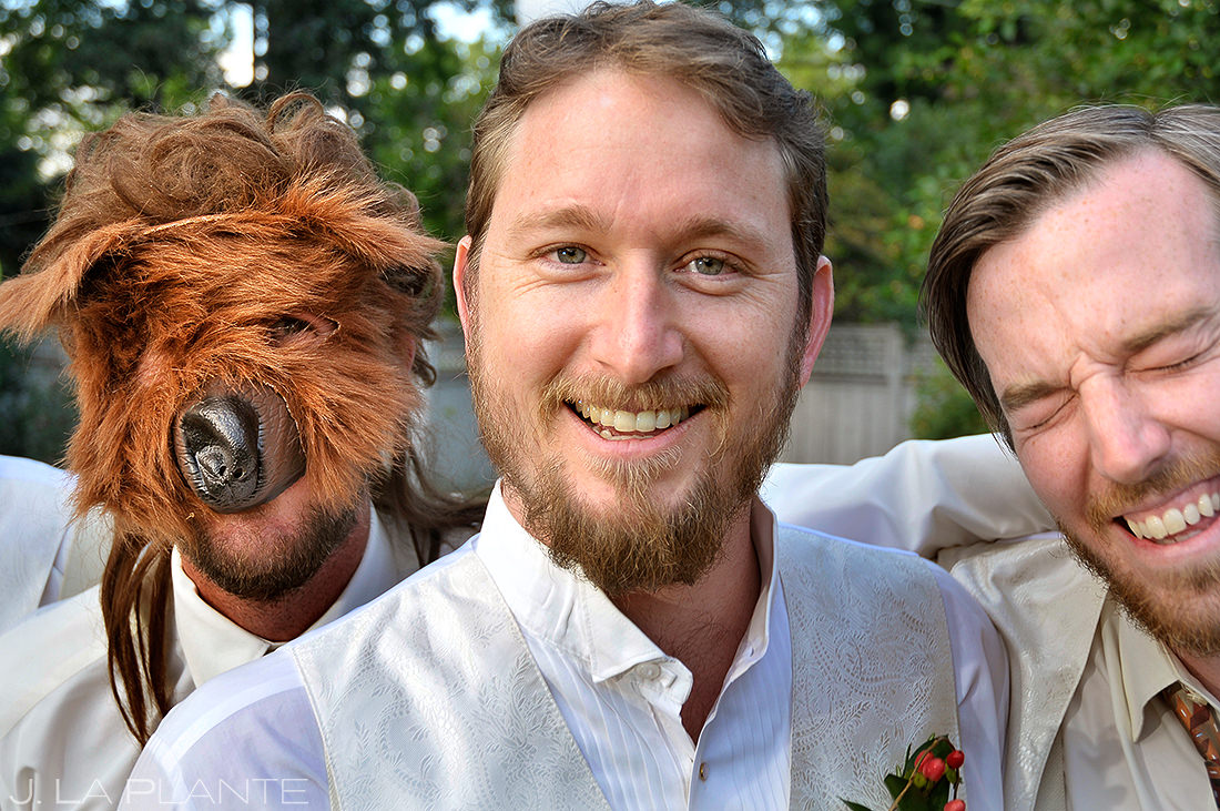 Groomsmen Pranking Groom   Koenig Alumni House Wedding   Boulder Wedding Photographer   J. La Plante Photo