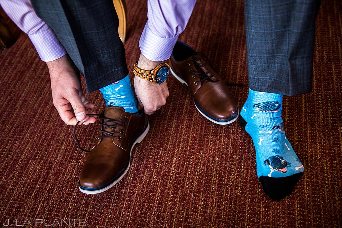 Groom's Custom Wedding Socks | Beaver Creek Lodge Wedding | Beaver Creek Wedding Photographer | J. La Plante Photo