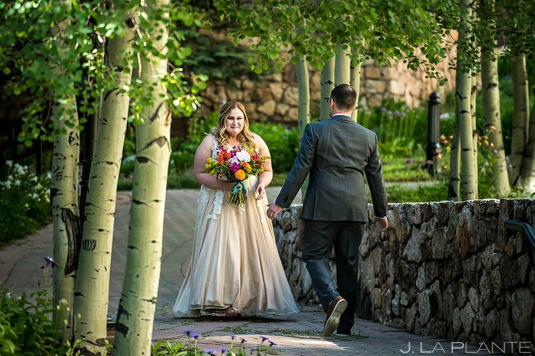 Bride and Groom First Look | Beaver Creek Lodge Wedding | Beaver Creek Wedding Photographer | J. La Plante Photo