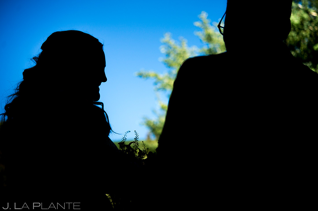 Bride Silhouette | Beaver Creek Skier Bridge Wedding Ceremony | Beaver Creek Lodge Wedding | Beaver Creek Wedding Photographer | J. La Plante Photo