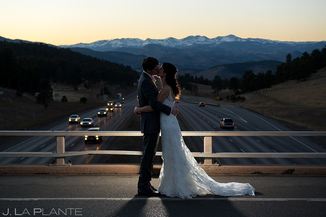 Bride and Groom Sunset Wedding Photo | Pines at Genesee Wedding | Colorado Wedding Photographer | J. La Plante Photo