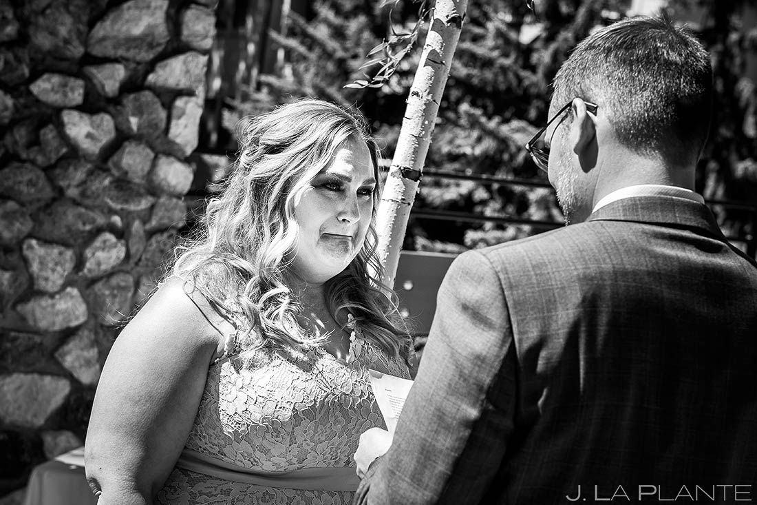 Crying Bride | Beaver Creek Skier Bridge Wedding Ceremony | Beaver Creek Lodge Wedding | Beaver Creek Wedding Photographer | J. La Plante Photo