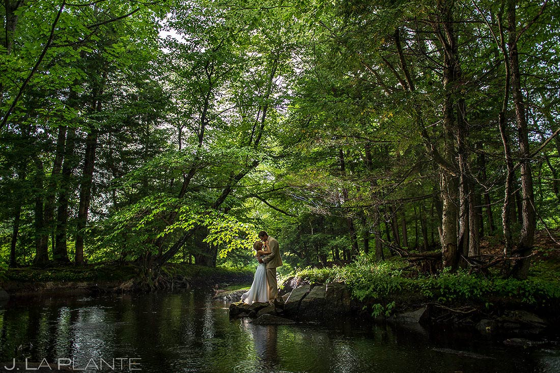 Bride and Groom in the Woods | Ogunquit Maine Wedding | Destination Wedding Photographer | J. La Plante Photo