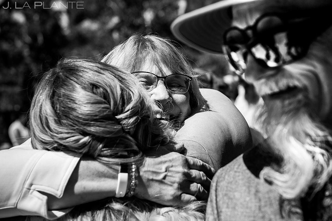 Bride Hugging Mother of the Groom | Beaver Creek Skier Bridge Wedding Ceremony | Beaver Creek Lodge Wedding | Beaver Creek Wedding Photographer | J. La Plante Photo