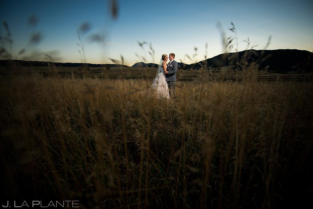 Sunset Wedding Photo   Spruce Mountain Ranch Wedding   Colorado Wedding Photographer   J. La Plante Photo