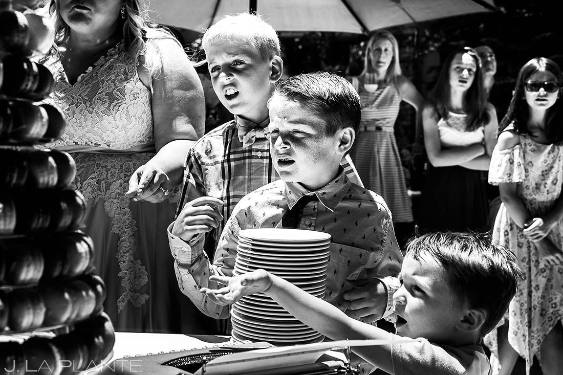 Kids Reaching for Wedding Cake | Revolution Dining Wedding Reception | Beaver Creek Lodge Wedding | Beaver Creek Wedding Photographer | J. La Plante Photo