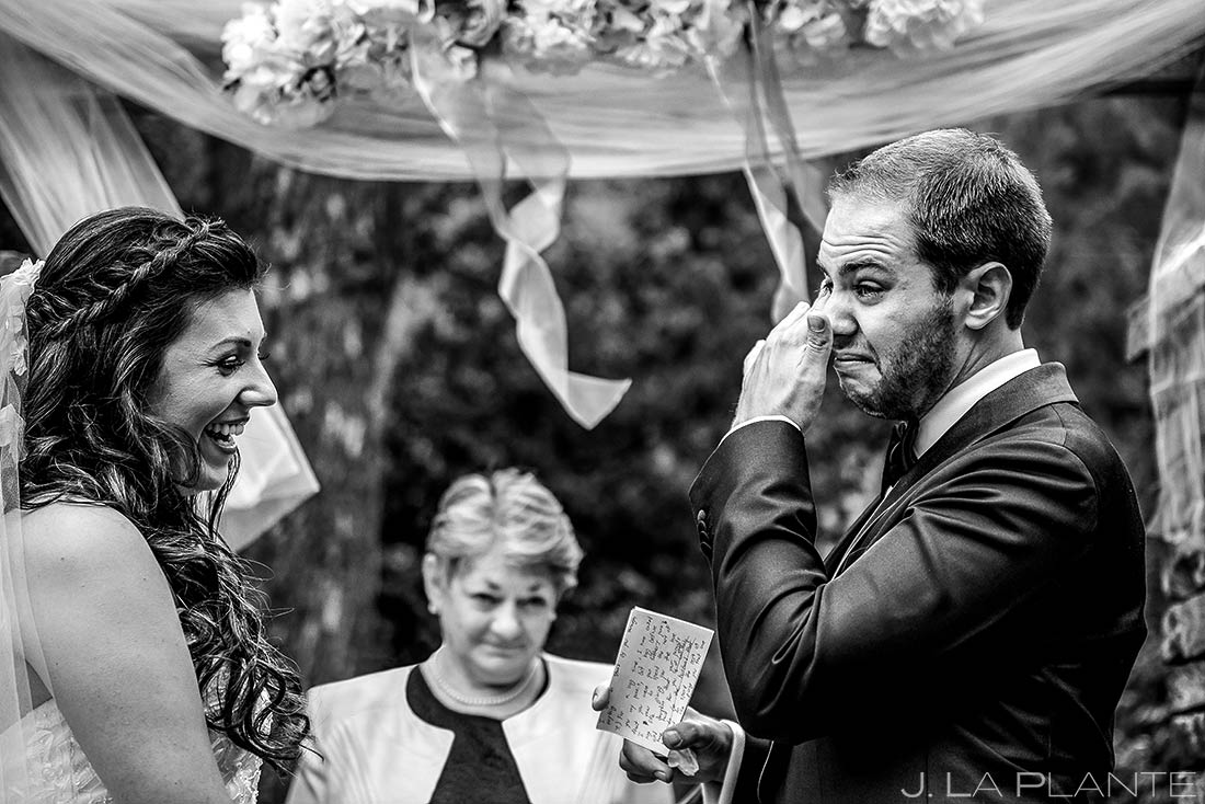 Groom Crying During Vows | Wedgewood Boulder Wedding | Boulder Wedding Photographer | J. La Plante Photo
