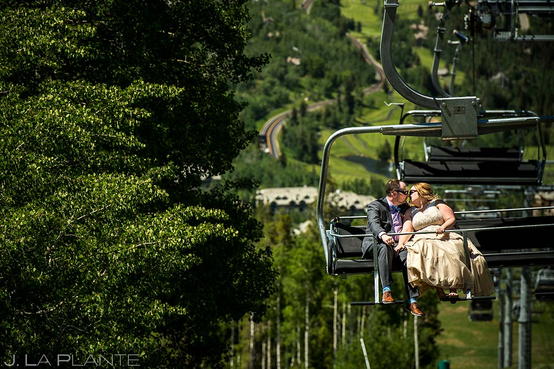 Bride and Groom Riding Chairlift | Beaver Creek Lodge Wedding | Beaver Creek Wedding Photographer | J. La Plante Photo