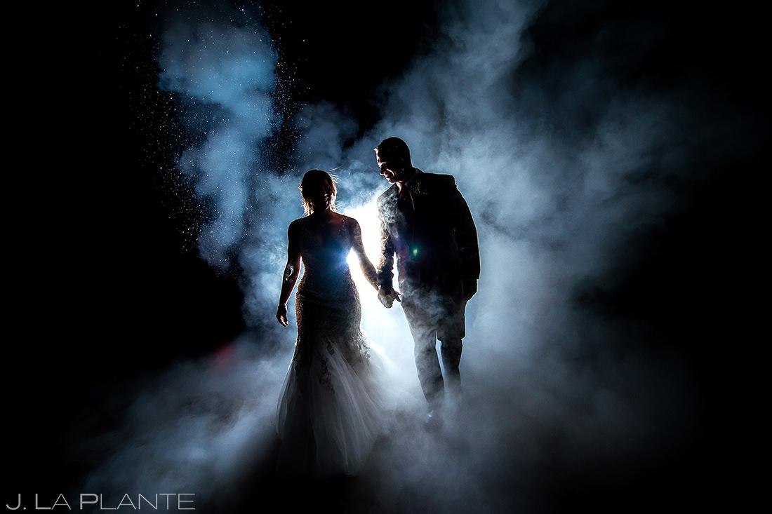 Bride and Groom Nighttime Photo   Devils Thumb Ranch Wedding   Colorado Wedding Photographer   J. La Plante Photo