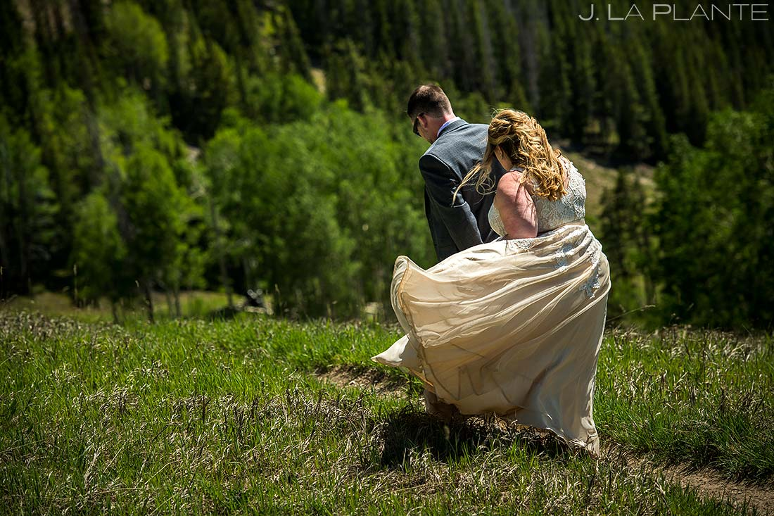 Bride and Groom on Beaver Creek Mountain | Beaver Creek Lodge Wedding | Beaver Creek Wedding Photographer | J. La Plante Photo