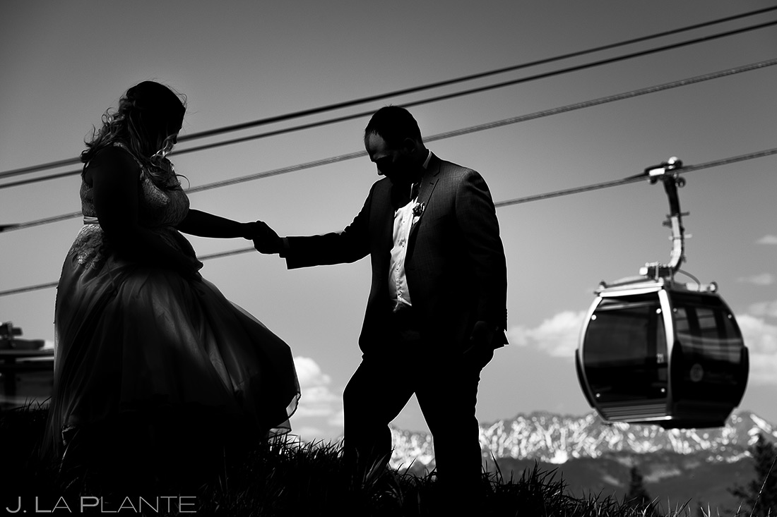Bride and Groom on Beaver Creek Mountain | Beaver Creek Lodge Wedding | Beaver Creek Wedding Photographer | J. La Plante Photo