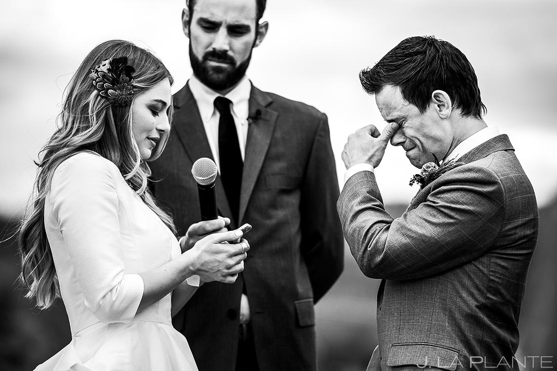 Groom Crying Wedding Vows   Crooked Willow Farms Wedding   Colorado Wedding Photographer   J. La Plante Photo
