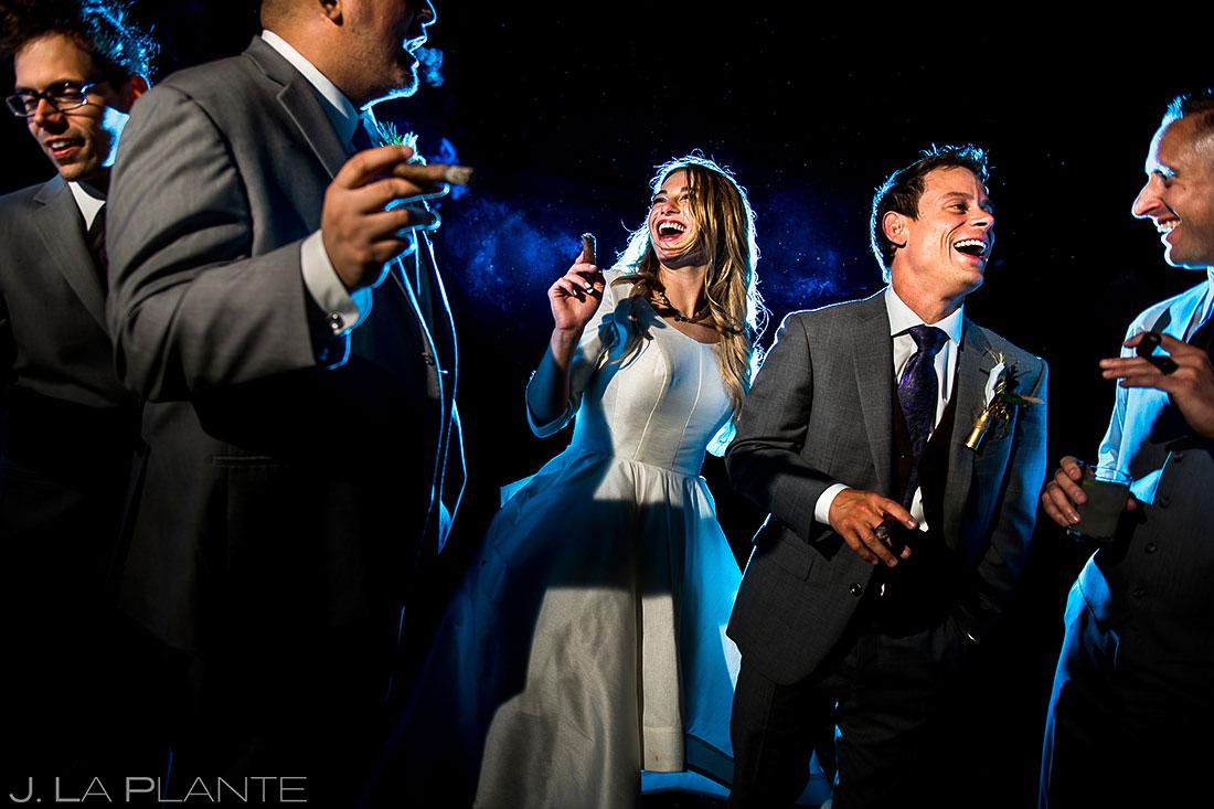 Wedding Party Smoking Cigars   Crooked Willow Farms Wedding   Colorado Wedding Photographer   J. La Plante Photo