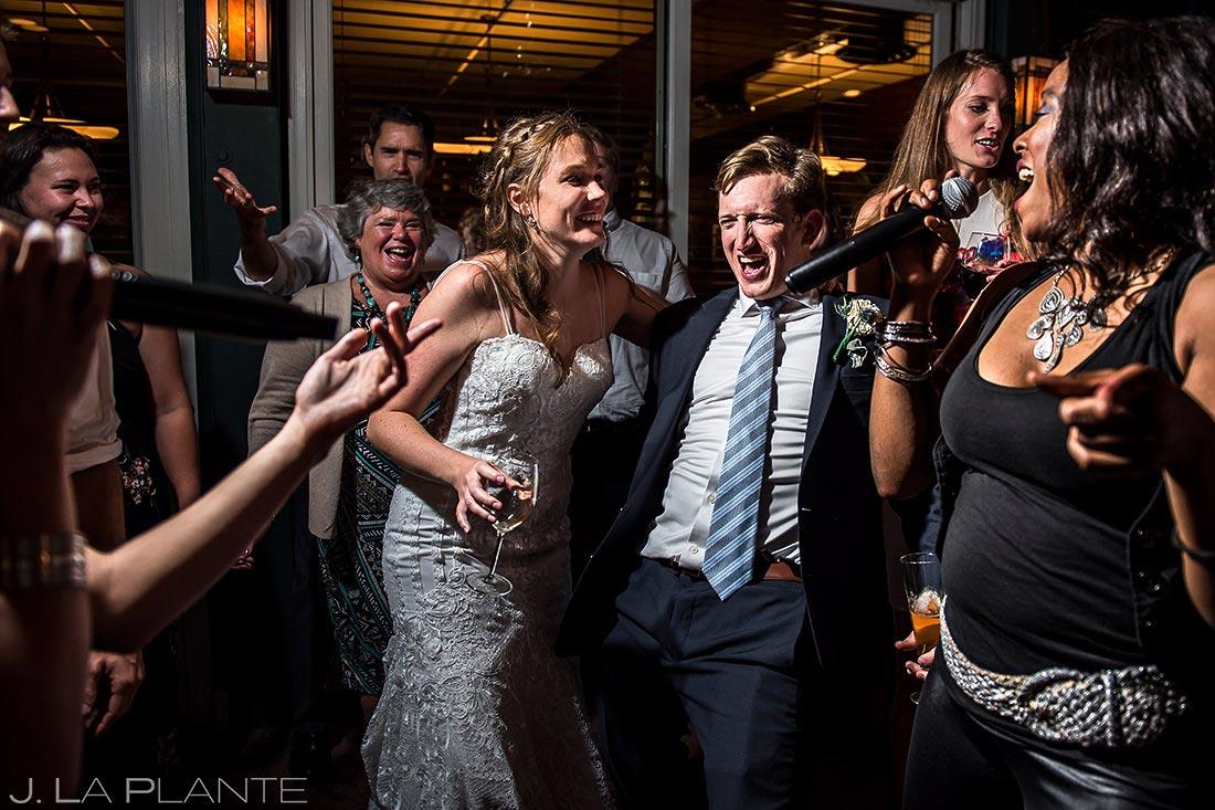 Bride and Groom Dancing with Wedding Band   Greenbriar Inn Wedding   Boulder Wedding Photographer   J. La Plante Photo