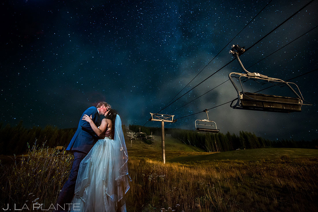 Bride and Groom Kissing Under the Stars | Copper Mountain Wedding | Colorado Wedding Photographer | J. La Plante Photo