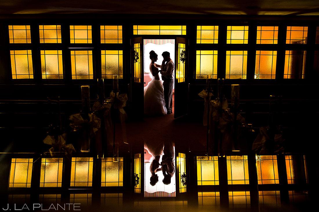 Bride and Groom Nighttime Portrait   Denver Wedding   Denver Wedding Photographer   J. La Plante Photo