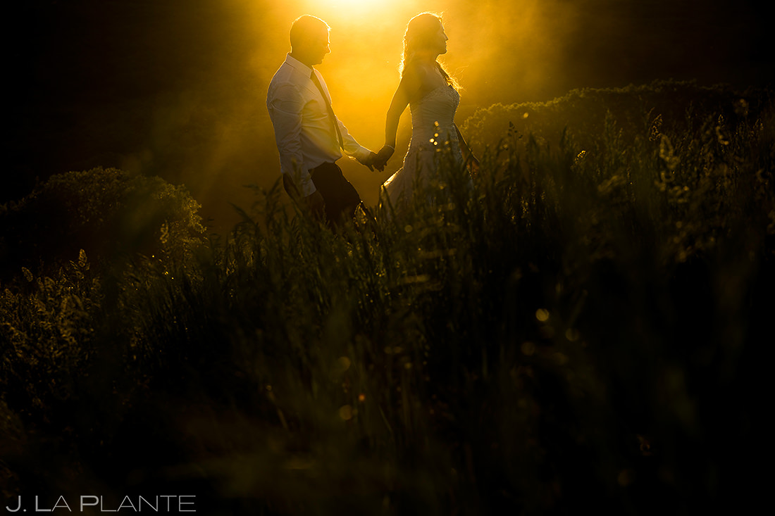 Bride and Groom Sunset Wedding Photo | White Own Ranch Wedding | Colorado Wedding Photographer | J. La Plante Photo