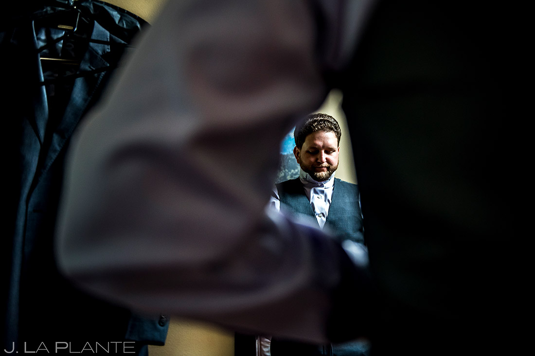 Groom Getting Ready | Lodge at Cathedral Pines Wedding | Colorado Springs Wedding Photographer | J. La Plante Photo