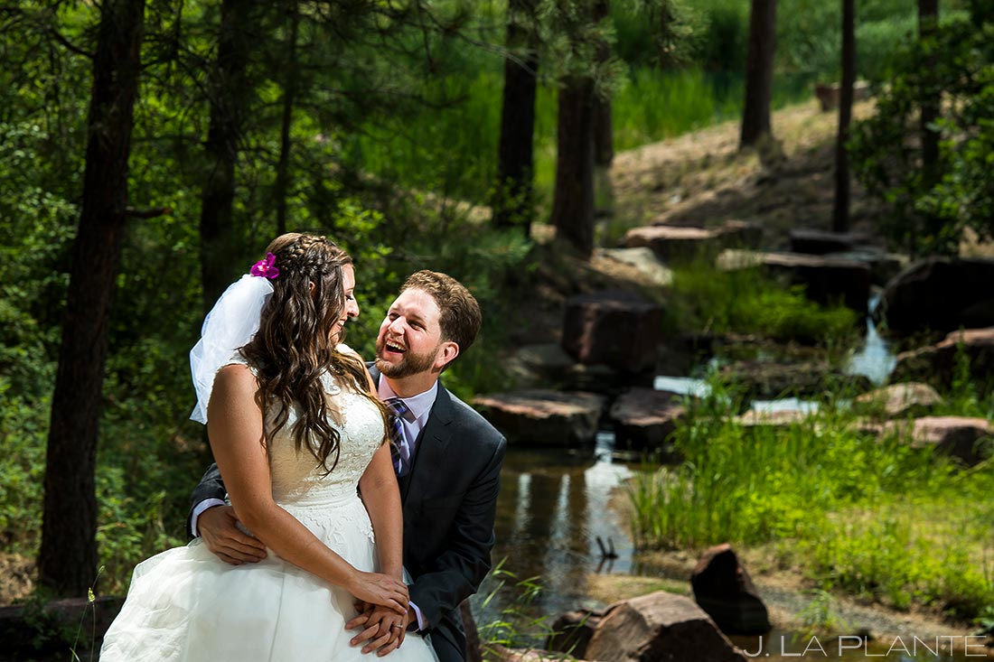 Bride and Groom by River | Lodge at Cathedral Pines Wedding | Colorado Springs Wedding Photographer | J. La Plante Photo