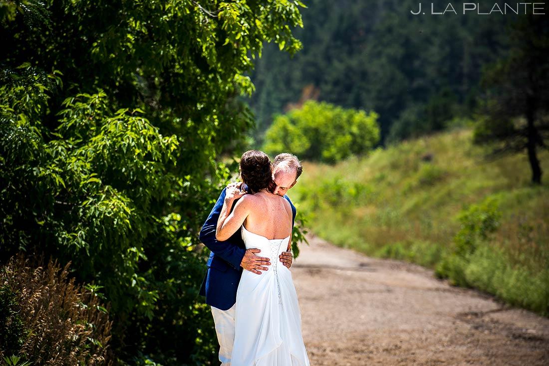 First Look in Chautauqua Park | Chautauqua Park Wedding | Boulder Wedding Photographer | J. La Plante Photo