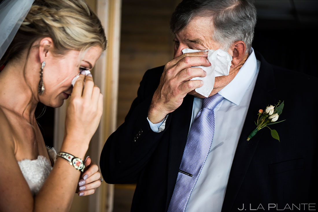 Bride Crying with Father | Steamboat Springs Wedding | Colorado Wedding Photographer | J. La Plante Photo