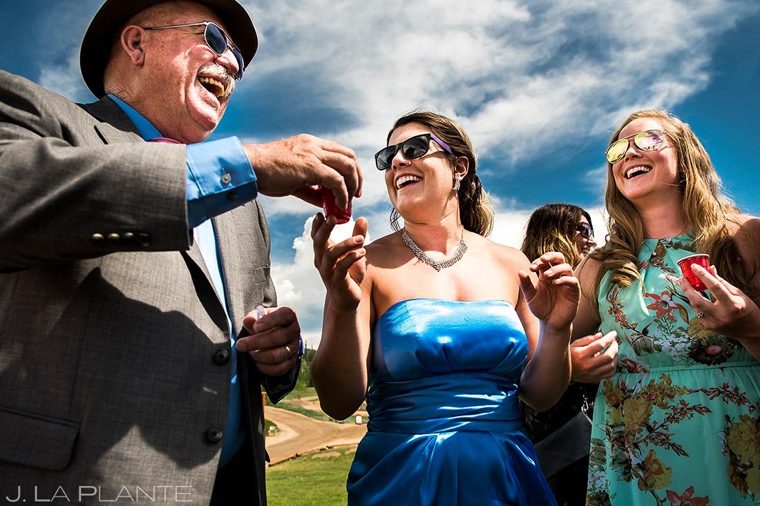 Wedding Guests Doing Tequila Shots | Steamboat Springs Wedding | Colorado Wedding Photographer | J. La Plante Photo