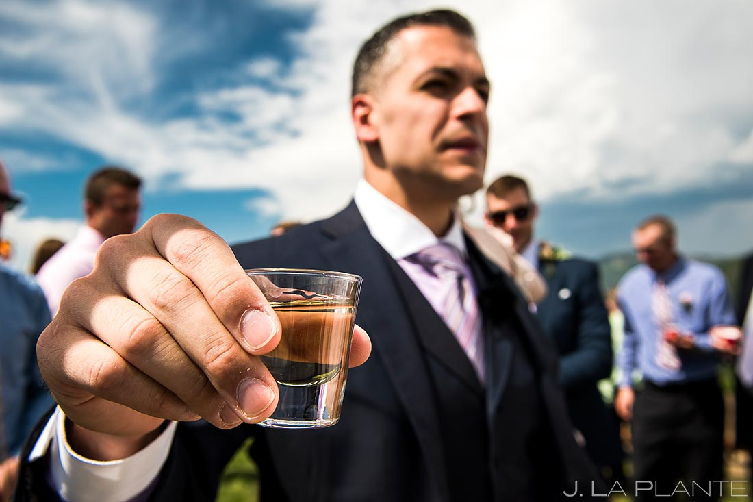Wedding Officiant Doing Tequila Shots | Steamboat Springs Wedding | Colorado Wedding Photographer | J. La Plante Photo