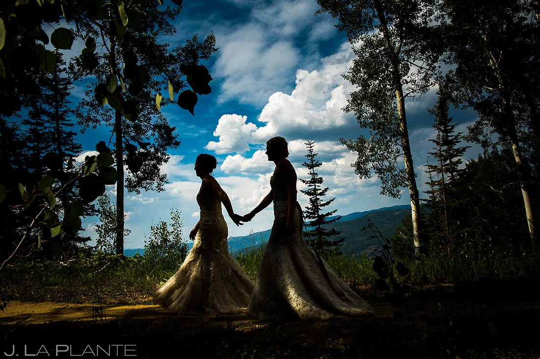 Bride and Bride Silhouette | Steamboat Springs Wedding | Colorado Wedding Photographer | J. La Plante Photo