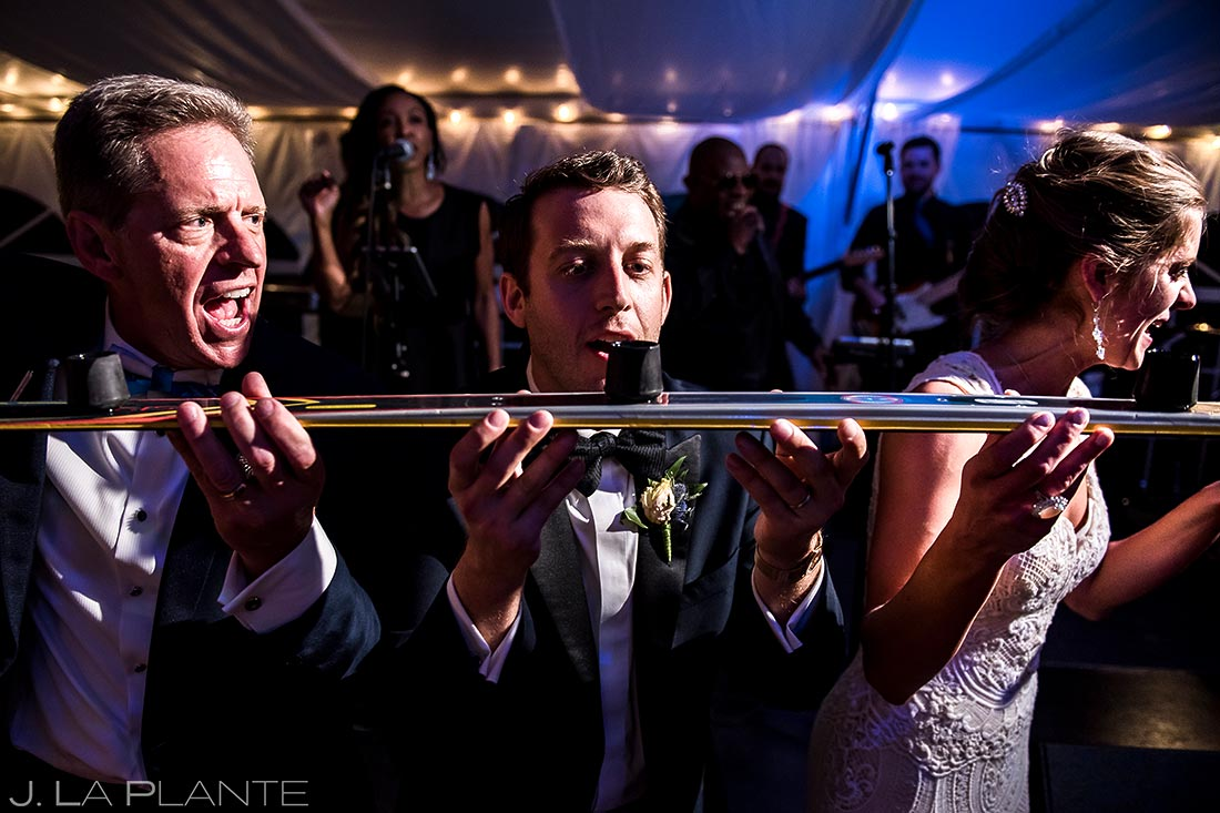 Bride and Groom Doing Shots with Parents | Camp Hale Wedding | Vail Wedding Photographer | J. La Plante Photo